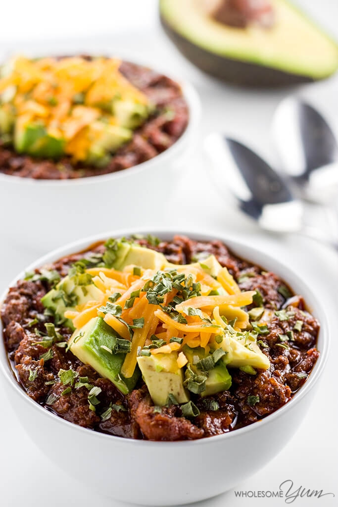 Instant Pot Ground Beef Recipes - Keto Low Carb Chili - Wholesome Yum