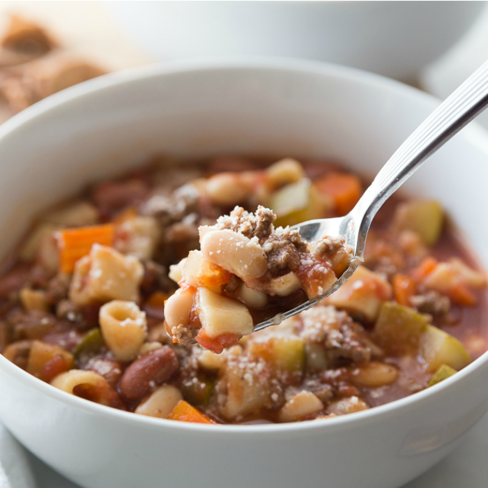 Bowl of Crockpot Minestrone Soup