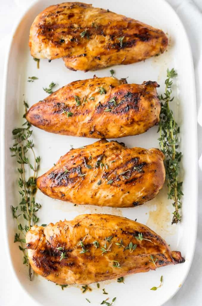 Grilled chicken dinner