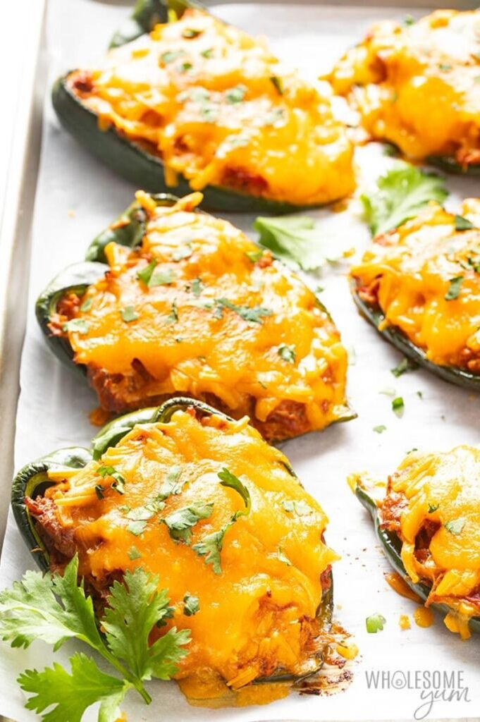 Enjoy Mexican appetizers like these stuffed poblano peppers