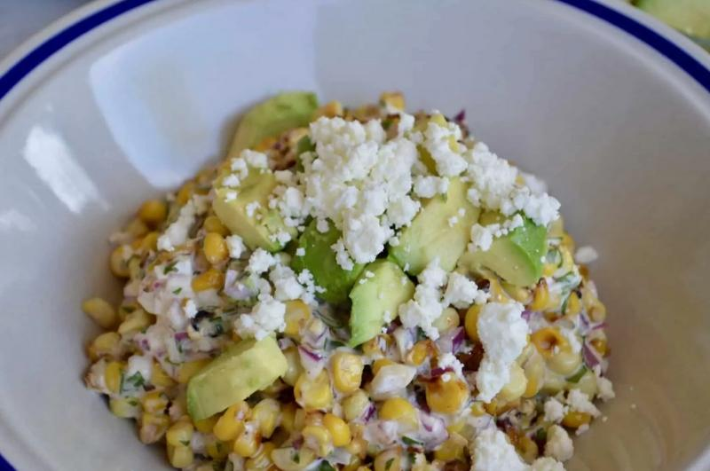 Enjoy Mexican appetizers like this Mexican street corn salad