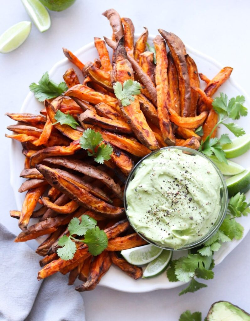Air fryer sweet potato fries with an avocado aioli.