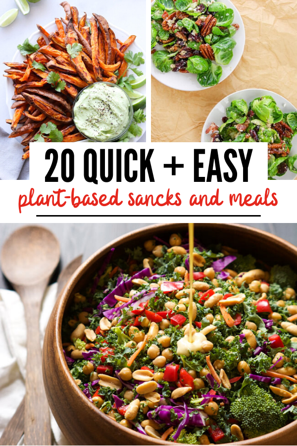Pinterest graphic with quick plant based meals.