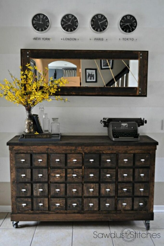 dark wood apothecary storage chest