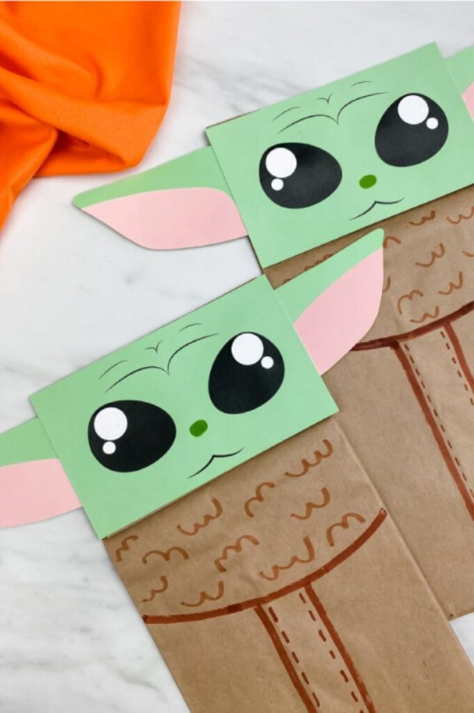 baby yoda paper bag craft