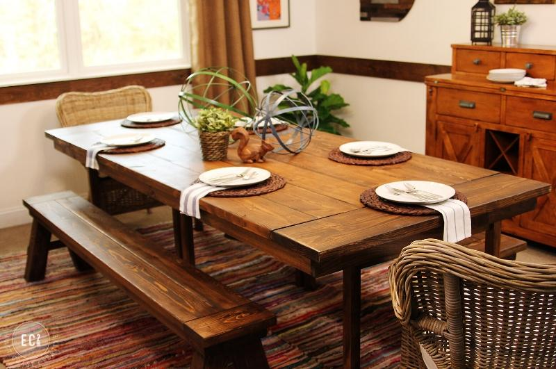 farmhouse style dining table and benches