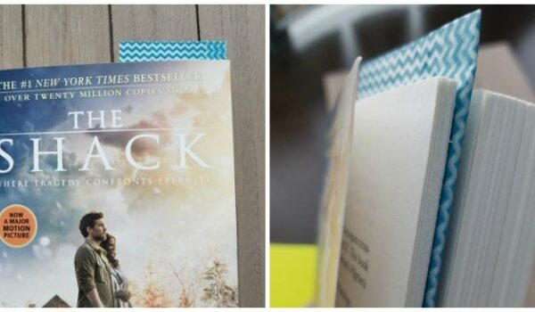 Corner DIY Bookmark displayed in a copy of The Shake