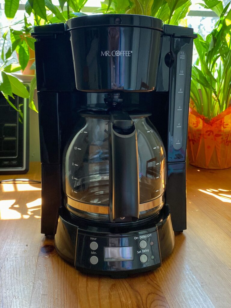 Clean coffee maker in front of plants