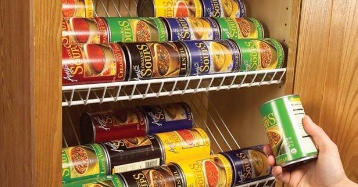 canned foods stored on a DIY closet shelf in a pantry