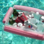 floating drink cooler in a pool