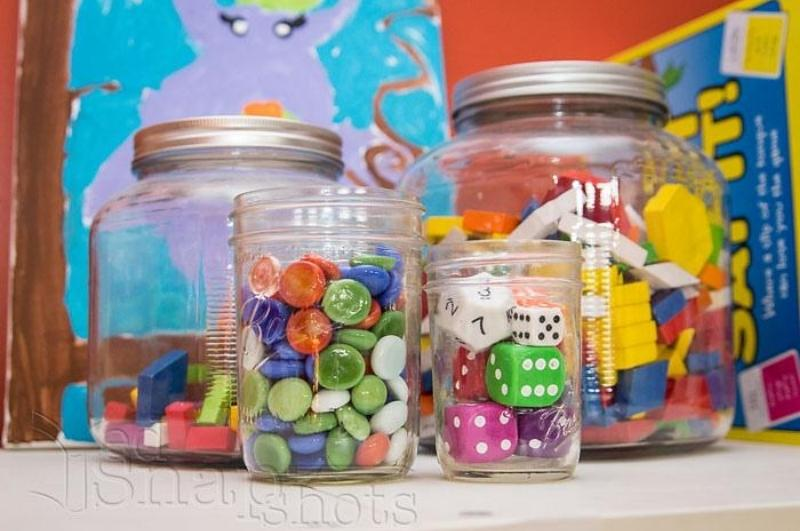 Glass jars holding holding manipulatives