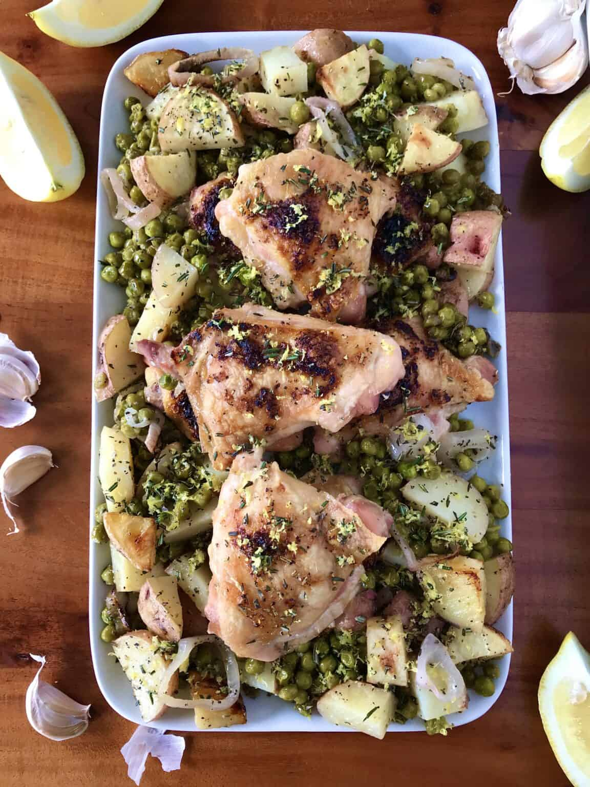 Sheet pan chicken potatoes and peas