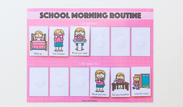 school morning routine for kids chart
