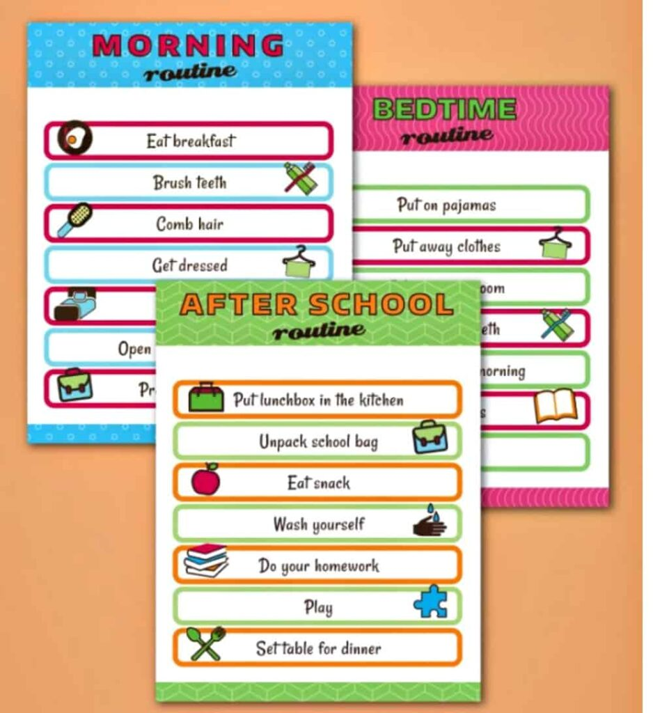collage image of kids routine printables