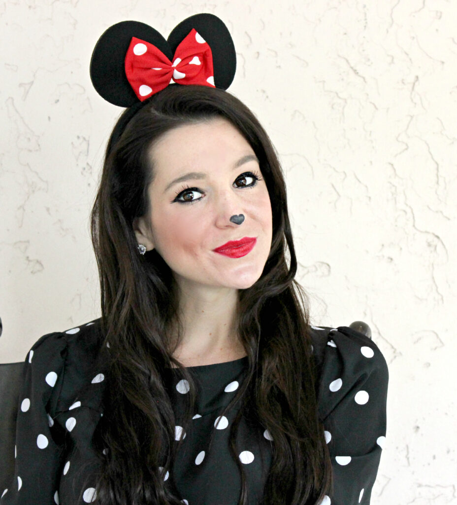 woman dressed up in homemade Minnie Mouse costume
