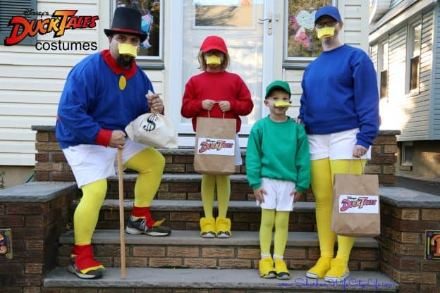 family dressed in homemade DuckTales costume