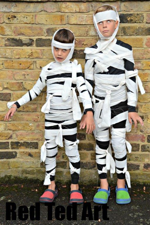 2 boys in mummy homemade Halloween costumes