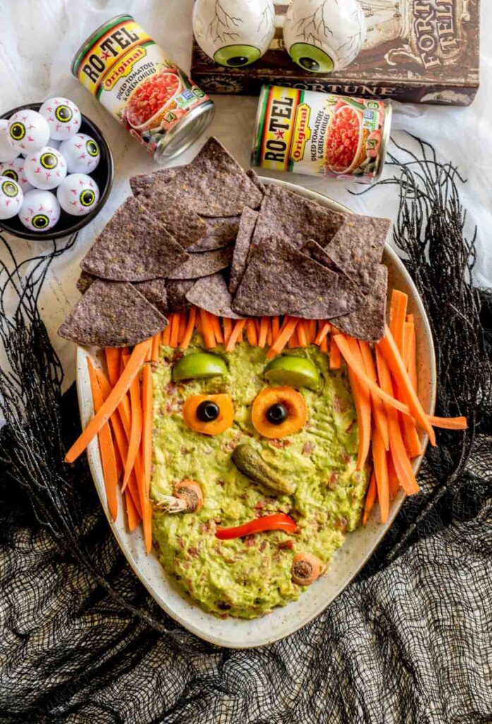 wicked witch face guacamole Halloween snack for kids