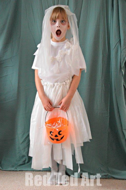 girl dressed in homemade Halloween bride costume