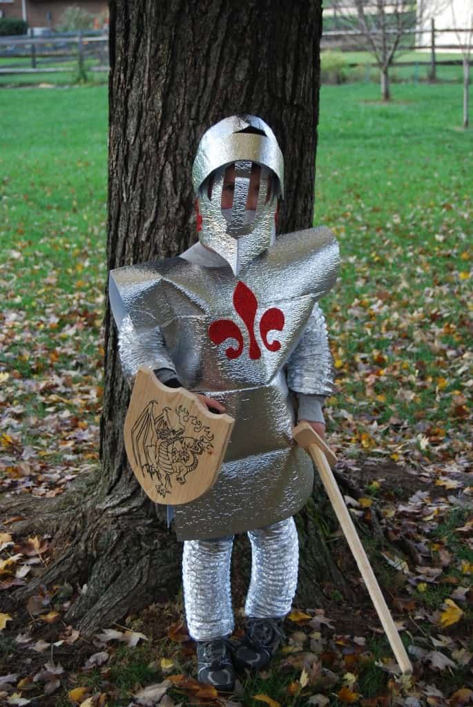 Little boy in a homemade knight in shining armor costume