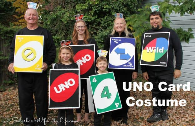 family dressed in homemade UNO cards costume