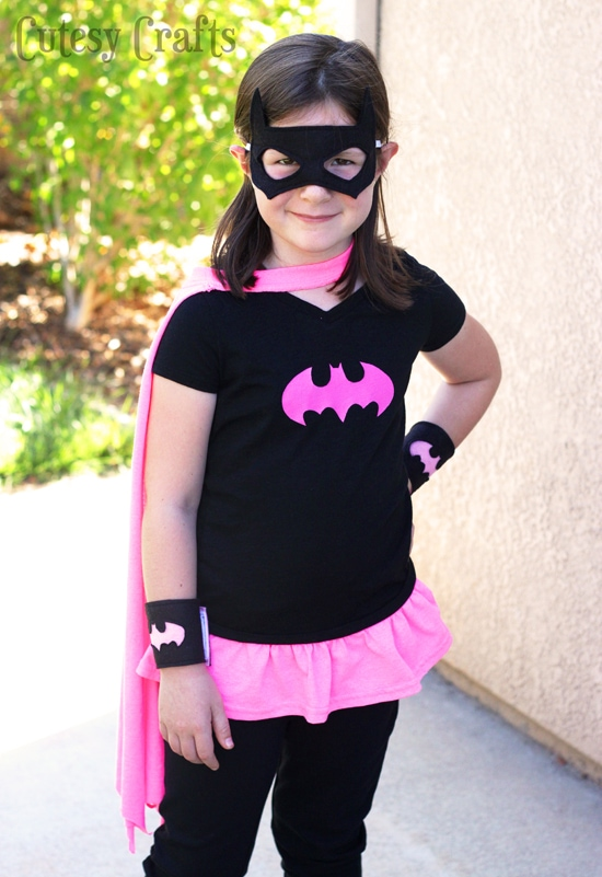 girl dressed up in homemade Batgirl costume