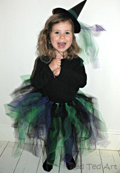 Girl dressed in easy no-sew witch costume