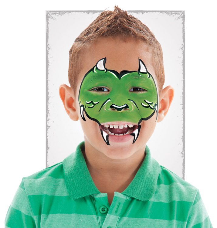 boy with dragon face paint