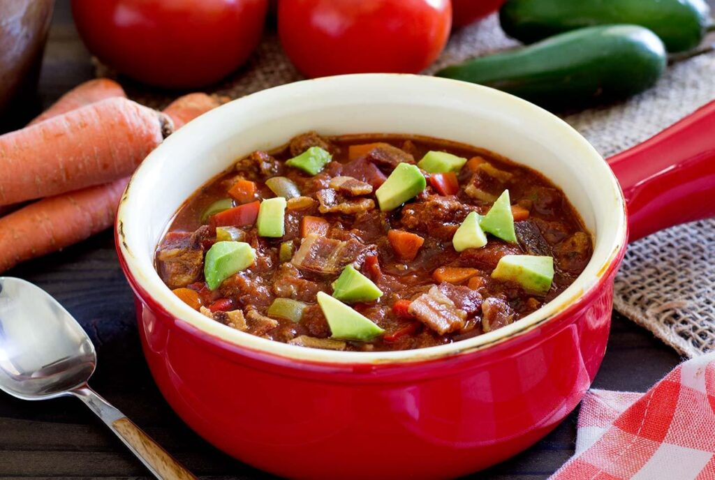 Bowl of crockpot paleo chili