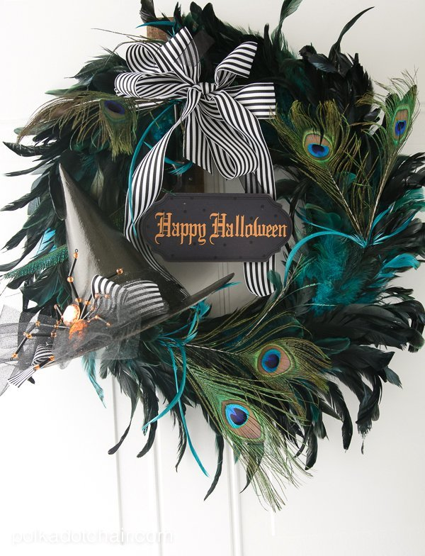 Peacock feathers and witch hat Halloween wreath