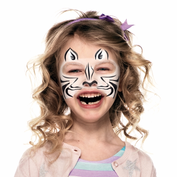 girl with zebra face paint