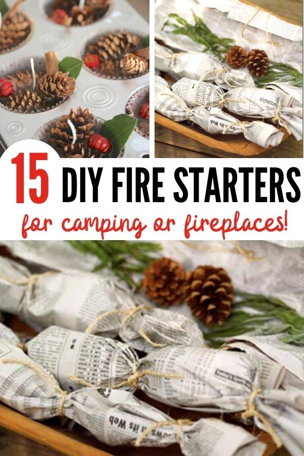 homemade fire starters pin image