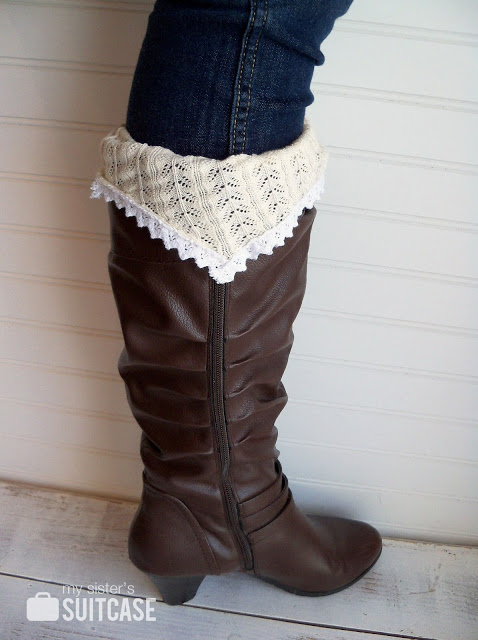 wearing a boot with DIY sweater sock cuff.