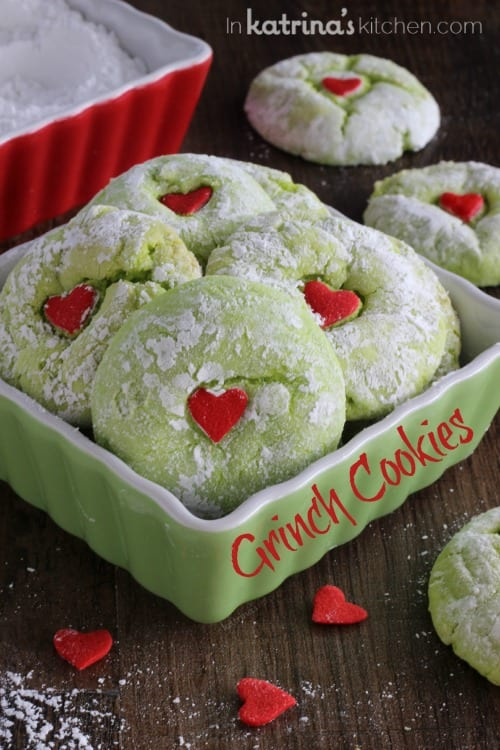 Grinch cookies in a dish