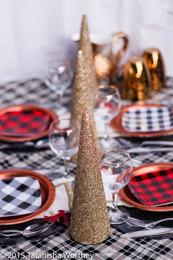 Plaid holiday tablescape