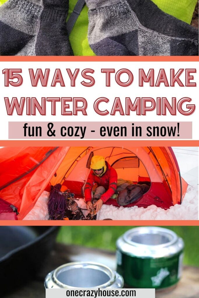 cold weather camping pin image