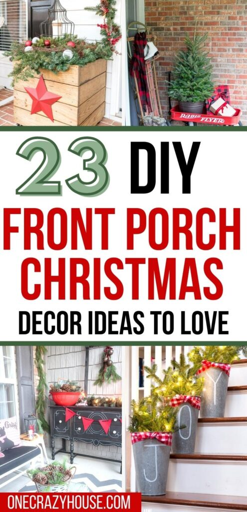 front porch Christmas decorations pin image