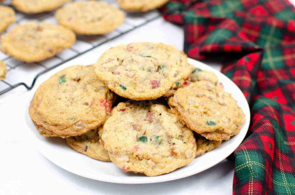 Fruitcake cookies on a plate