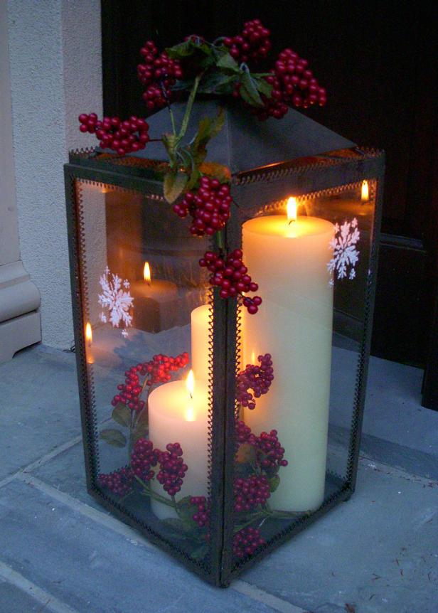 DIY Christmas lantern with lit candles inside