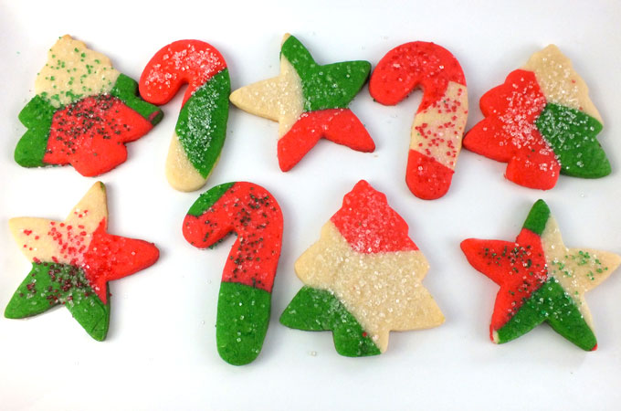 Red and green marbled Christmas cookies